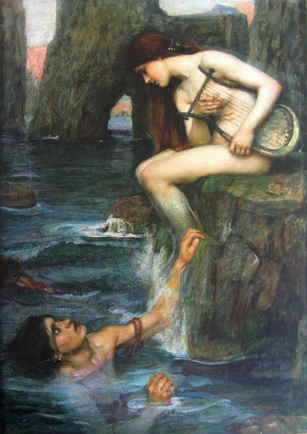 Waterhouse, John William: The Siren. Mythical Fine Art Print/Poster. Sizes: A4/A3/A2/A1 (00849)